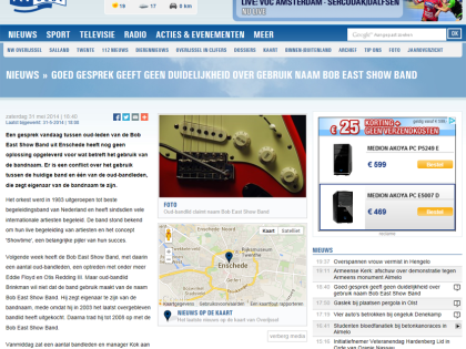 rtvoost.nl: Goed gesprek geeft geen duidelijkheid over gebruik naam Bob East Show Band